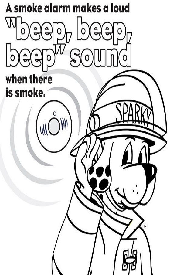 Learn the Sounds of Fire Safety Coloring Sheet