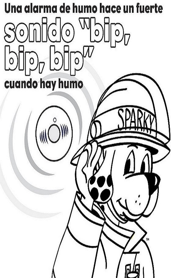 Learn the sounds of fire safety coloring sheet - Spanish