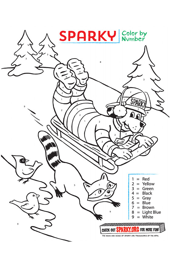 Sparky Sledding Coloring Page